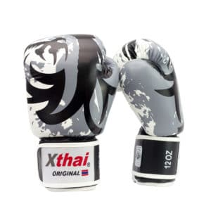 Xthai Gants de Boxe Tribal Dragon Gris / Noir