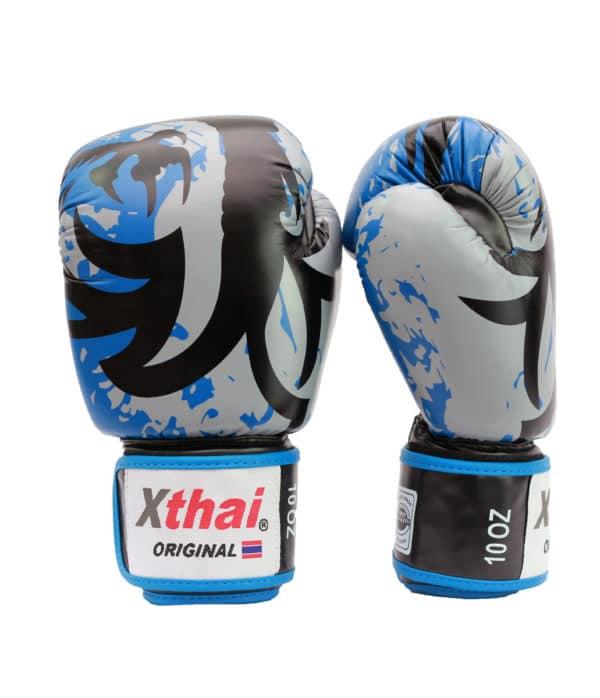 Xthai Gants de Boxe Tribal Dragon Bleu / Noir