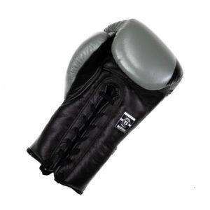 Gants de Boxe BOOSTER cuir à lacets gris/noir