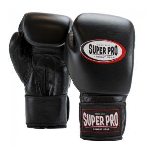 Gants de boxe cuir SUPER PRO Combat gear noir