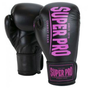 Gants de boxe SUPER PRO COMBAT noir/rose