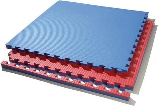 Tapis puzzle 1mx1mx4cm Bleu / Rouge