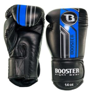 Gants de Boxe Cuir BOOSTER BGL V9 noir/bleu